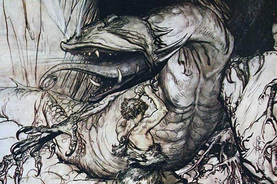 Der Lindwurm Fafnir, den der Held Sigur im skandinavischen Mythos erlegt, darf als direktes Vorbild für Tolkiens Drachen Smaug gelten.