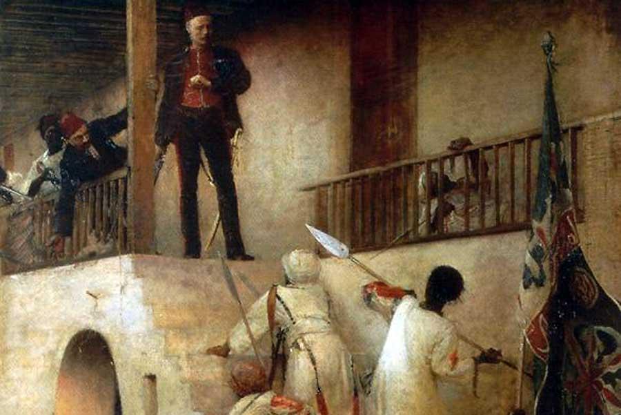 Der Tod Gordons in Khartoum wurde schnell romantisiert: Auf diesem Gemälde von 1893 tritt er den Aufständischen mutig entgegen.