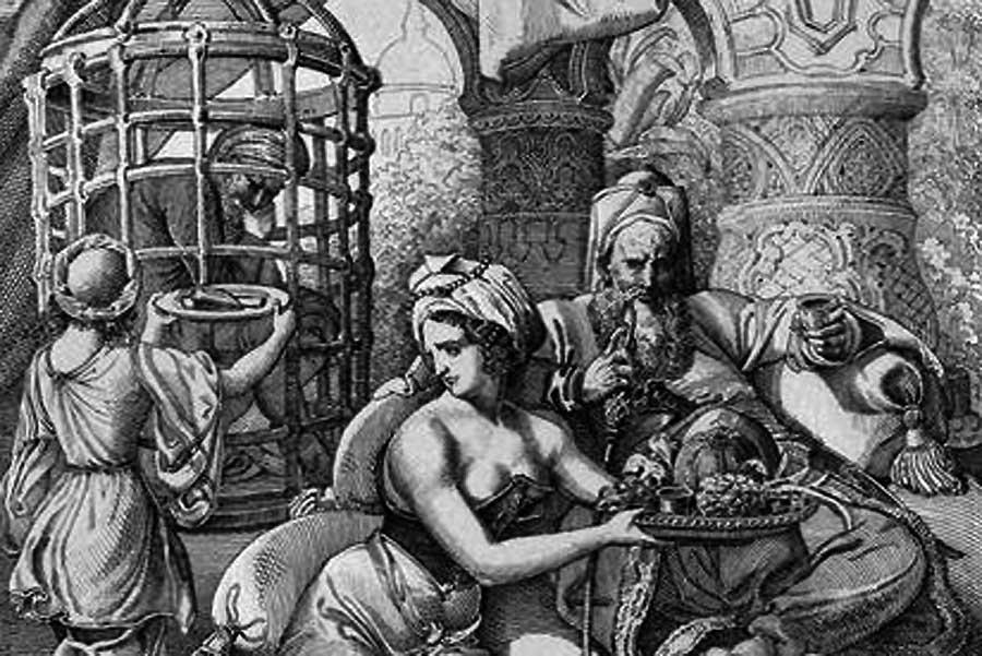 Gegner der Türken malten die Gefangenschaft des Sultans genüsslich als Martyrium: Hier zeigt eine Lithographie von 1860, wie Bajasid von Timur im Käfig gehalten wird.