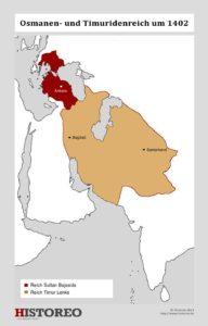 Die Ausdehnung des Osmanenreiches und des Machtbereichs Timurs im Jahr 1402.